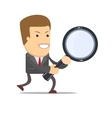 businessman with a magnifying glass in his hands vector image