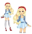 Fashion Blonde Girl With Red Bandana vector image