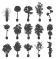 house and office plants silhouette set vector image