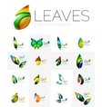 Futuristic design eco leaf logo set vector image