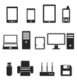 Icons of computer hardware and gadgets in the vector image