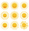 Cute hand drawn sun icons with smile vector image