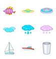 fluid icons set cartoon style vector image