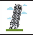 leaning tower monument vector image