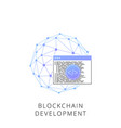 neon blockchain development line icon vector image