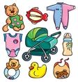 Newborn accessories icons set vector image