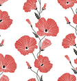 Seamless red and black floral pattern vector image