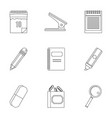 stationery related icon set outline style vector image