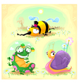 Two funny insects and one snail with background vector image