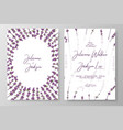 wedding invitation with lavenders cards templates vector image