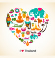Thailand love - heart with thai icons and symbols vector image