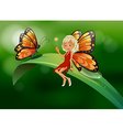 A fairy and a butterfly at the top of a long leaf vector image