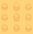 burgers color outline isometric icons vector image