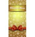 Christmas Snowflake Gold Menu vector image vector image