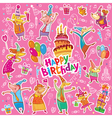 Birthday stickers vector image