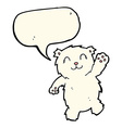 cartoon waving polar bear with speech bubble vector image