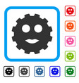 lady smiley gear framed icon vector image