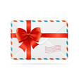 mail or delivery with bow ribbon vector image