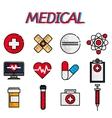 Medical flat icon set vector image
