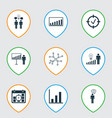 set of 9 board icons includes bar chart project vector image