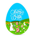 happy easter with eggs and bunny landscape vector image