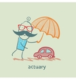 actuary holding an umbrella over the machine vector image