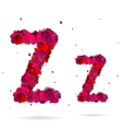 Letter z made from hearts Love alphabet vector image