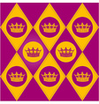 Modern diamond pattern with royal crown vector image