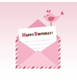 Birthday pink envelope with bird vector image