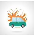 Car in flame flat color design icon vector image
