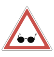 caution sign blind on the road vector image