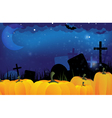 Cemetery and ripe pumpkins vector image