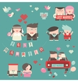 Collection of just married couples vector image