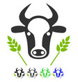 cow and wheat agriculture flat icon vector image