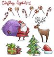 Doodle christmas symbols vector image