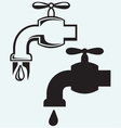 Dripping tap with drop vector image