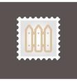 Fence flat stamp Outline vector image