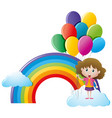 girl holding balloons with rainbow background vector image