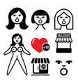 inflatable sex doll sex shop icons set vector image