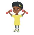 little smiling african girl holding dumbbells vector image
