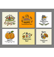 thanksgiving day art cards for your design vector image