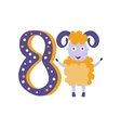 Ram Standing Next To Number Eight Stylized Funky vector image