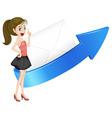 girl arrow and envelop vector image vector image