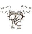 silhouette couple kids boy holding poster vector image