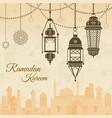 ramadan eid mubarak festival background with lamp vector image