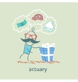 actuary with a gift in which the cars houses money vector image