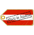 Vintage label with the flag of Austria vector image vector image