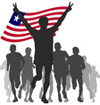 Winner with the Liberia flag at the finish vector image vector image
