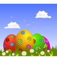 Colorful Easter eggs on grass vector image