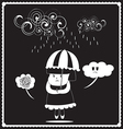Girl in the rainy day vector image